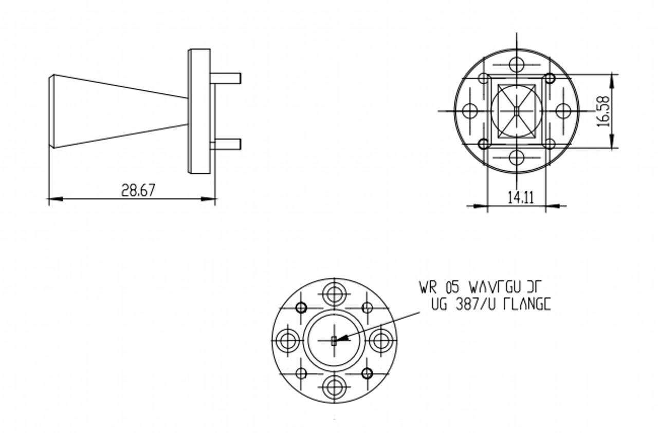 20 dBi Gain, 140 GHz to 220 GHz, WR-05 Waveguide Millimeter SGH Antenna