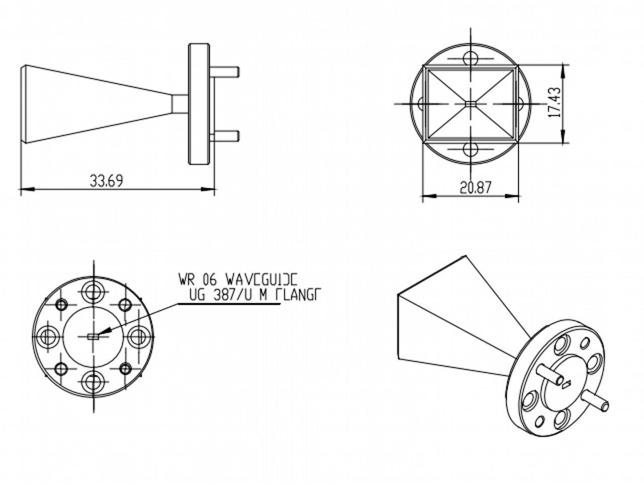 23 dBi Gain, 110 GHz to 170 GHz, WR-06 Waveguide Millimeter SGH Antenna