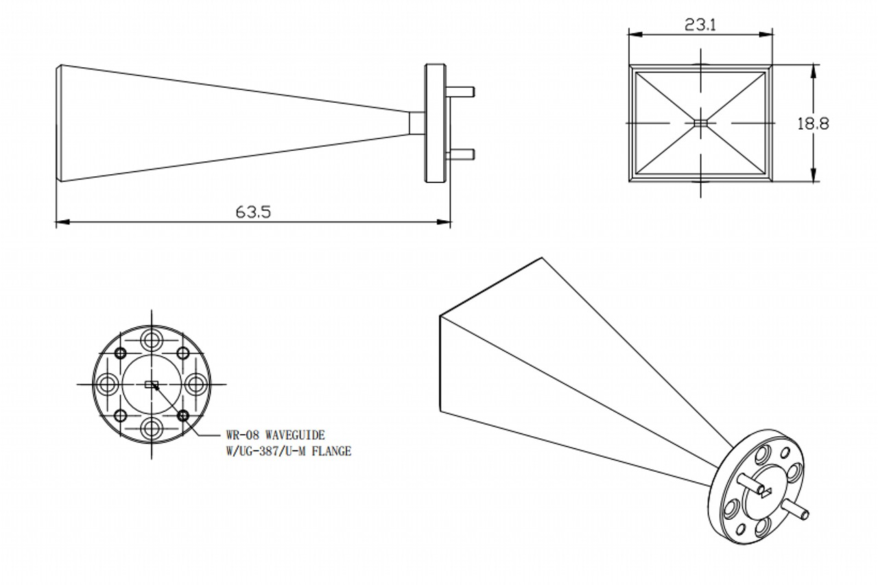 25 dBi Gain, 90 GHz to 140 GHz, WR-08 Waveguide Millimeter SGH Antenna