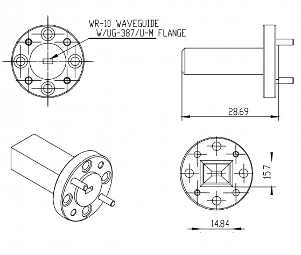 15 dBi Gain, 75 GHz to 110 GHz, WR-10 Waveguide Millimeter SGH Antenna