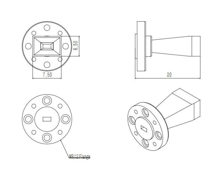 10 dBi Gain, 60 GHz to 90 GHz, WR-12 Waveguide Millimeter SGH Antenna