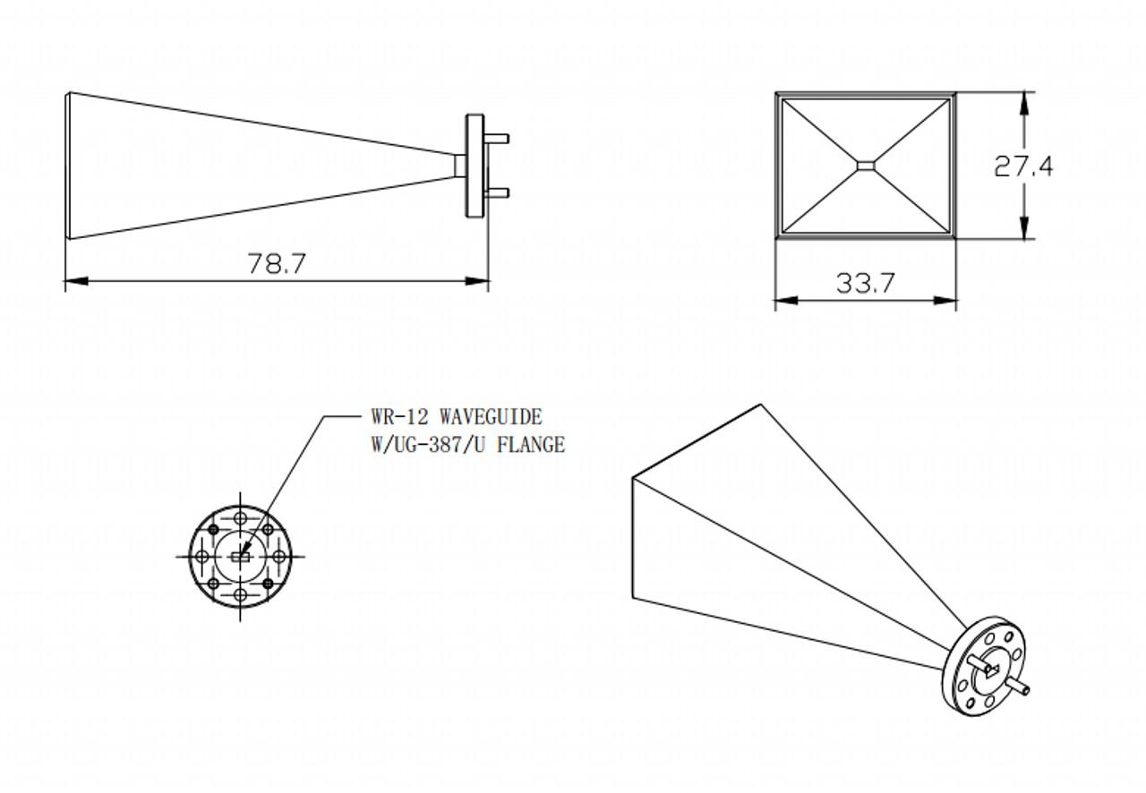 25 dBi Gain, 60 GHz to 90 GHz, WR-12 Waveguide Millimeter SGH Antenna