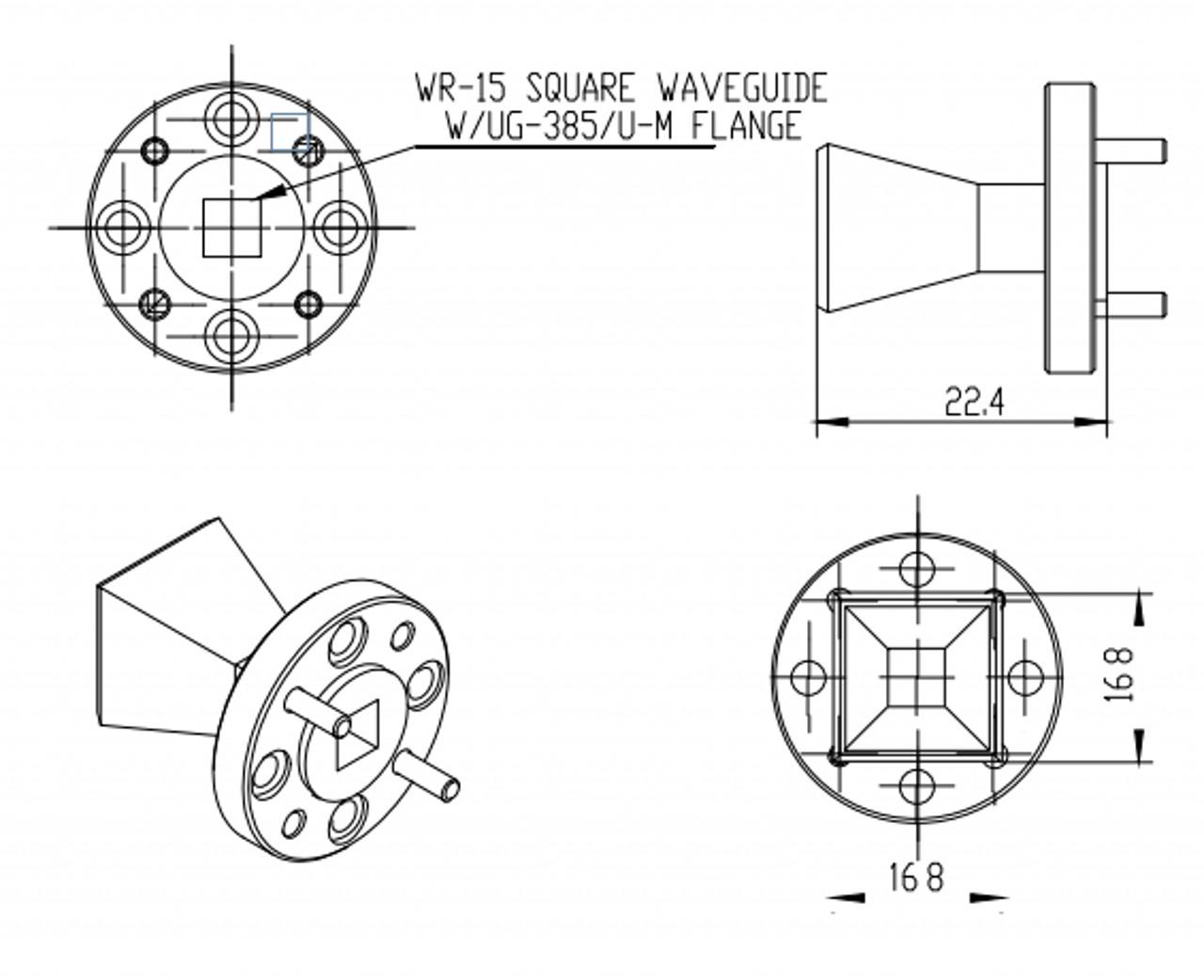 15 dBi Gain, 50 GHz to 75 GHz, WR-15 Waveguide Millimeter SGH Antenna
