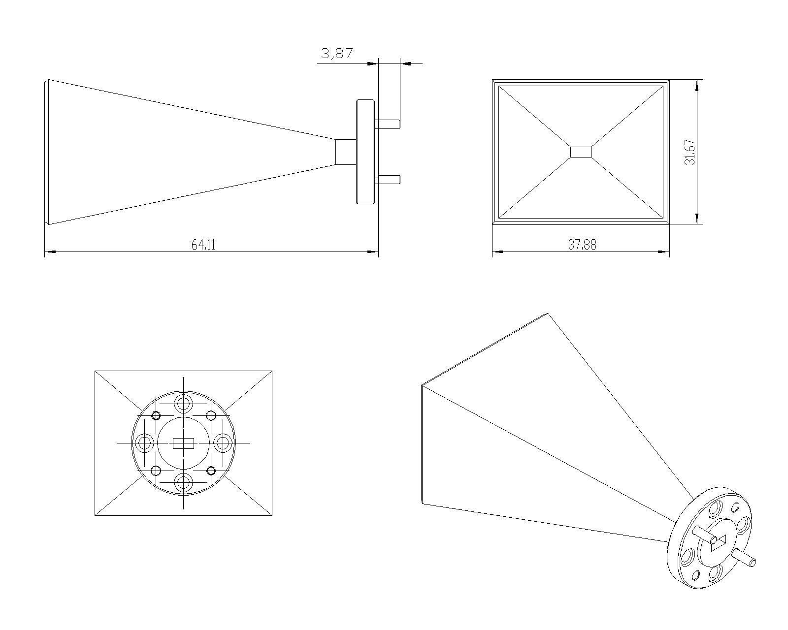 23 dBi Gain, 50 GHz to 75 GHz, WR-15 Waveguide Millimeter SGH Antenna