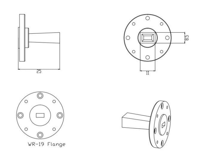 10 dBi Gain, 40 GHz to 60 GHz, WR-19 Waveguide Millimeter SGH Antenna