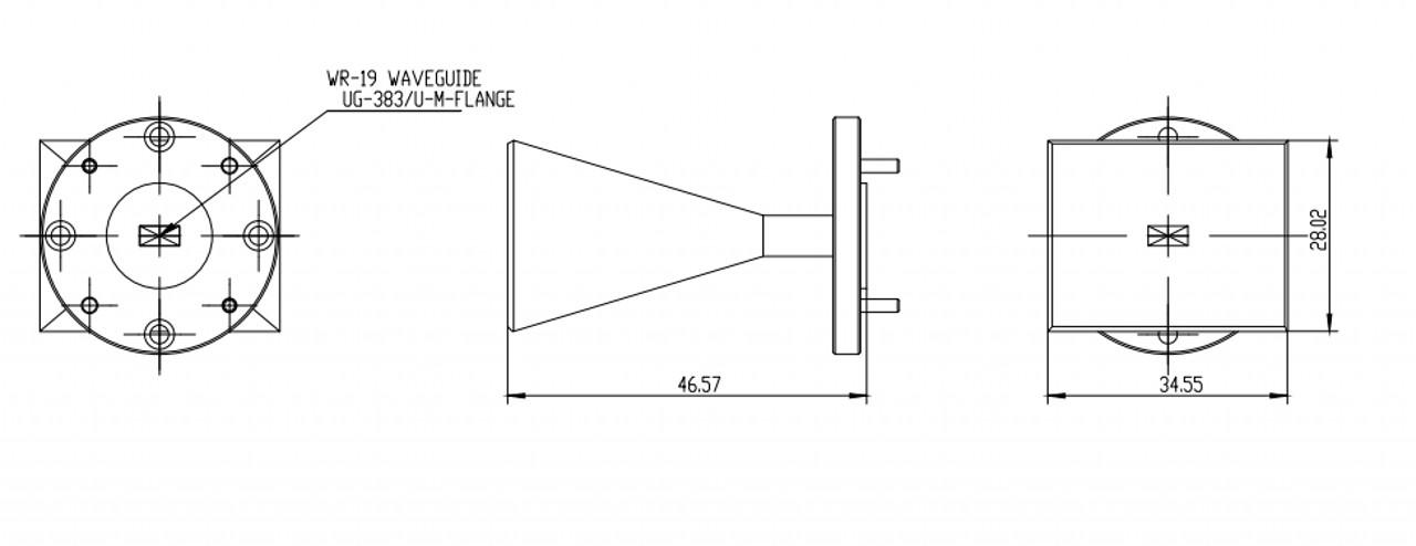 20 dBi Gain, 40 GHz to 60 GHz, WR-19 Waveguide Millimeter SGH Antenna