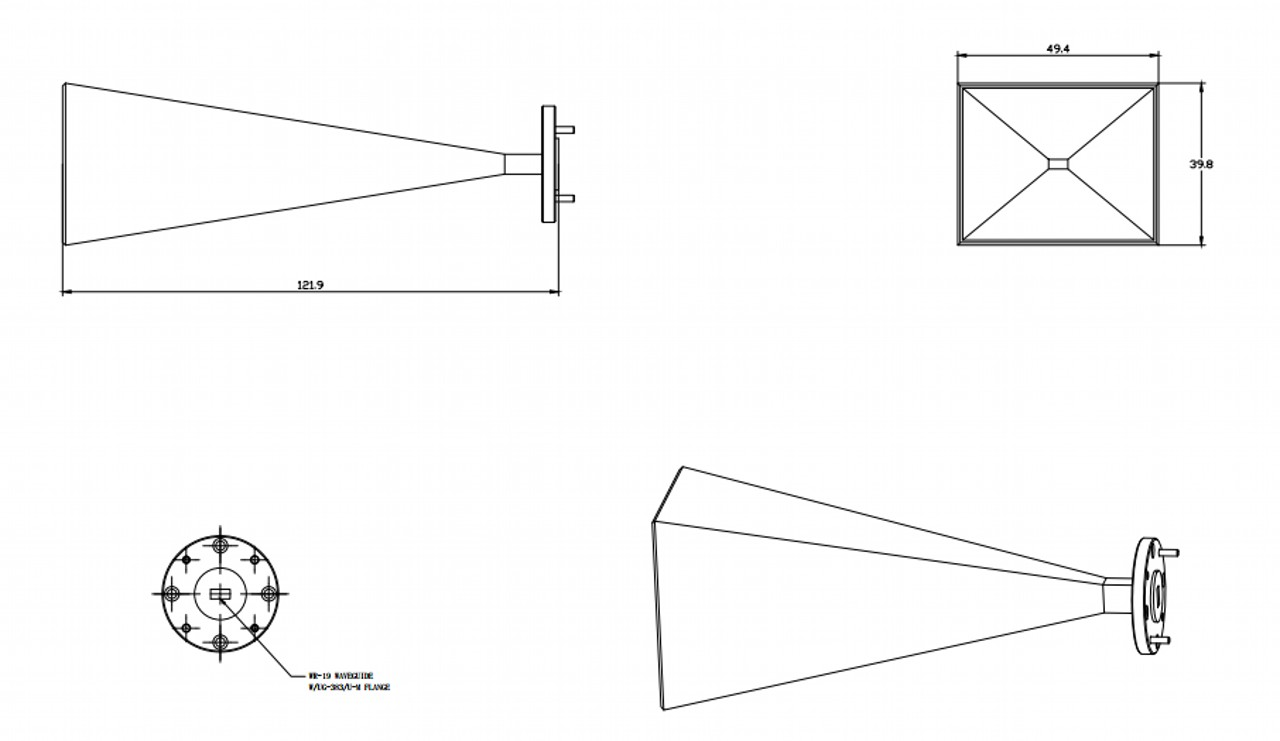 25 dBi Gain, 40 GHz to 60 GHz, WR-19 Waveguide Millimeter SGH Antenna