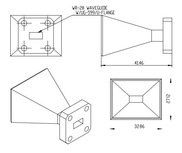 10 dBi Gain, 26.5 GHz to 40 GHz, WR-28 Waveguide Millimeter SGH Antenna