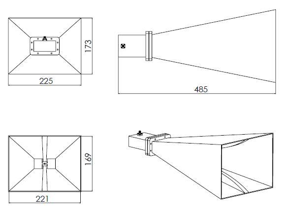 15 dBi Gain, 2 GHz to 4.8 GHz, Multi Octave Horn Antenna