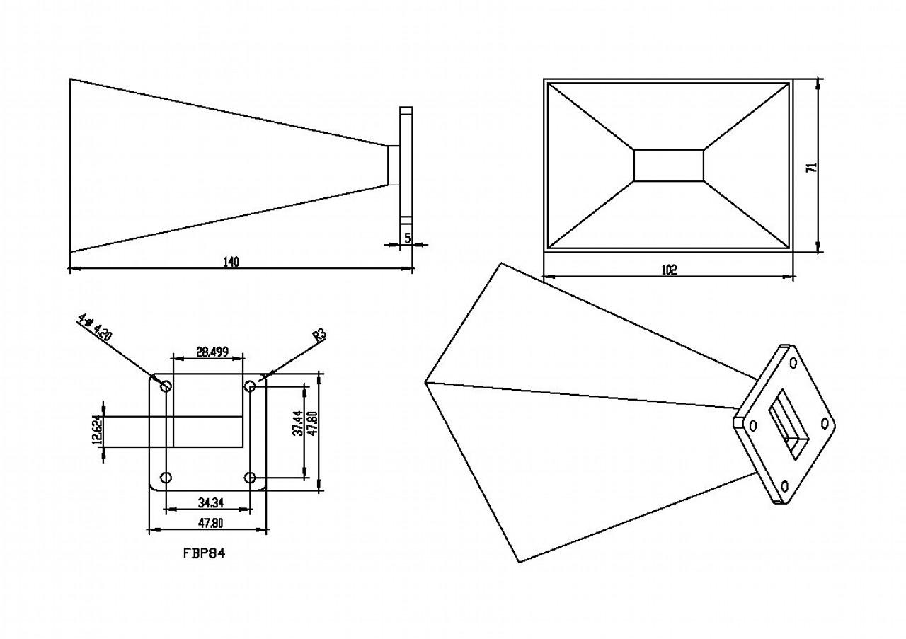 WR-112 Waveguide - 15dBi gain - Standard Gain Horn Antenna