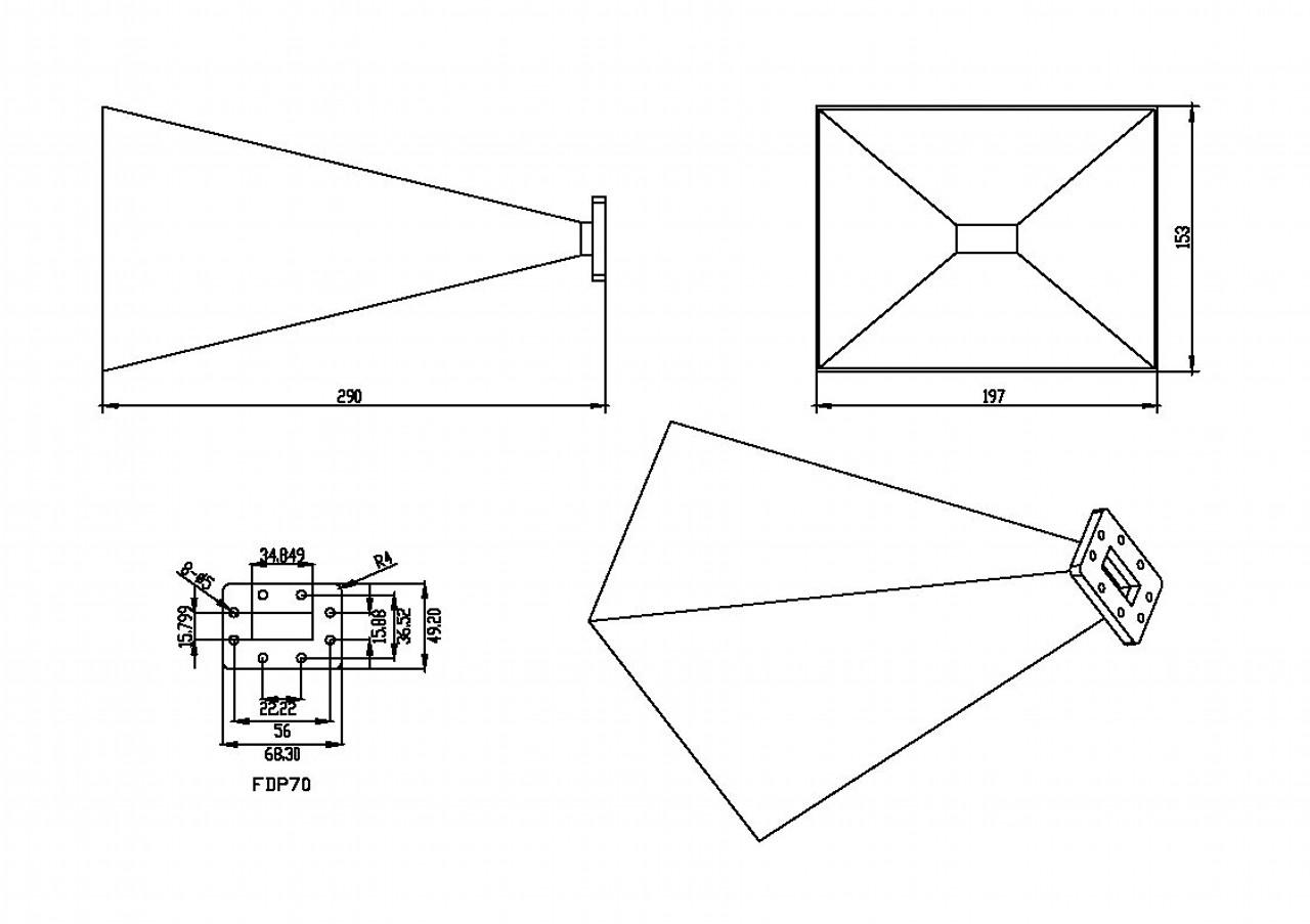 WR-137 Waveguide - 20dBi gain - Standard Gain Horn Antenna