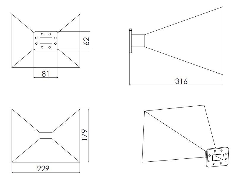 WR-159 Waveguide - 20dBi gain - Standard Gain Horn Antenna
