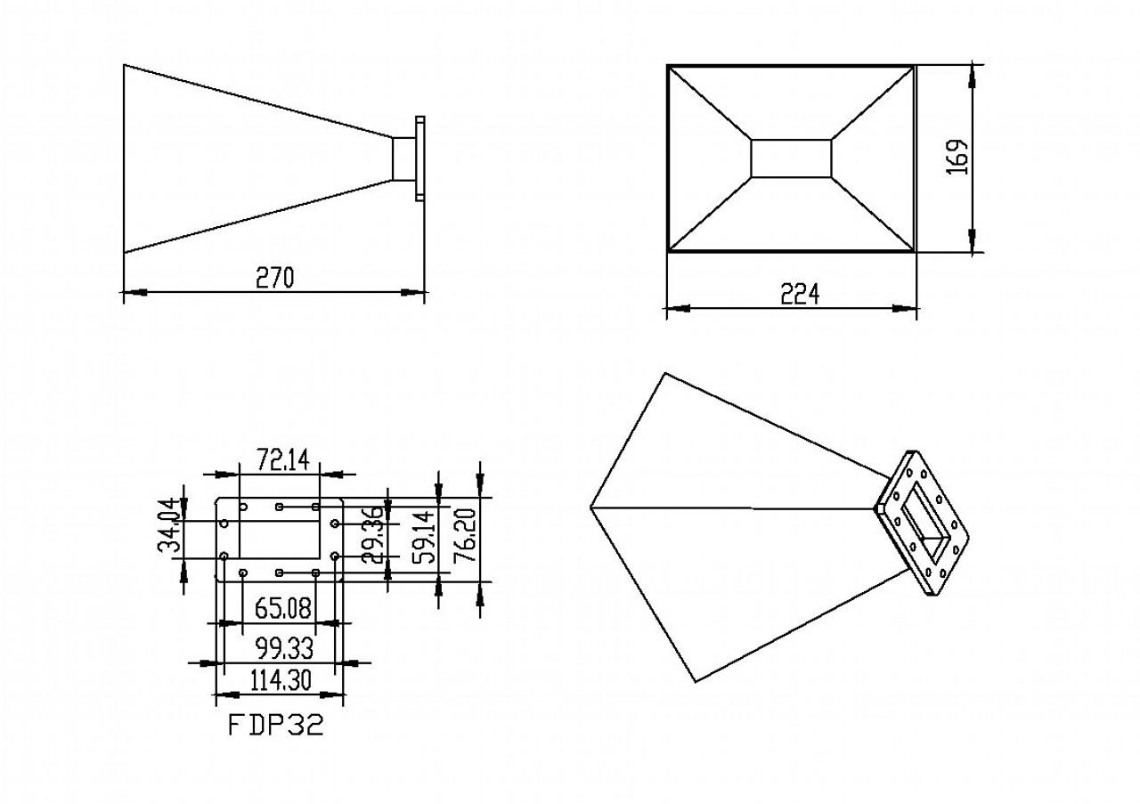 WR-284 Waveguide - 15dBi gain - Standard Gain Horn Antenna
