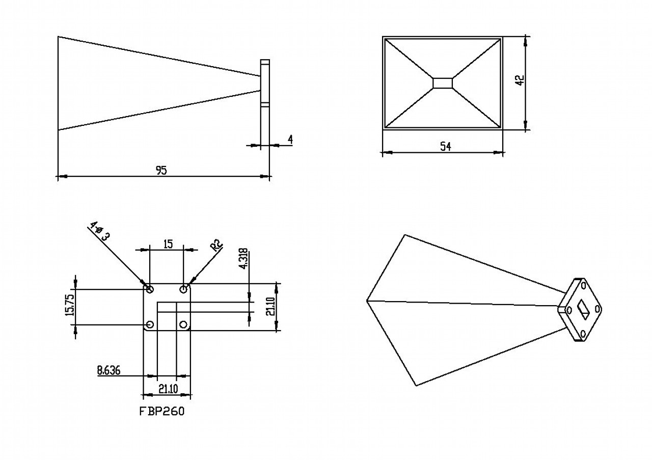 WR-34 Waveguide - 20 dBi Gain -Standard Gain Horn Antenna