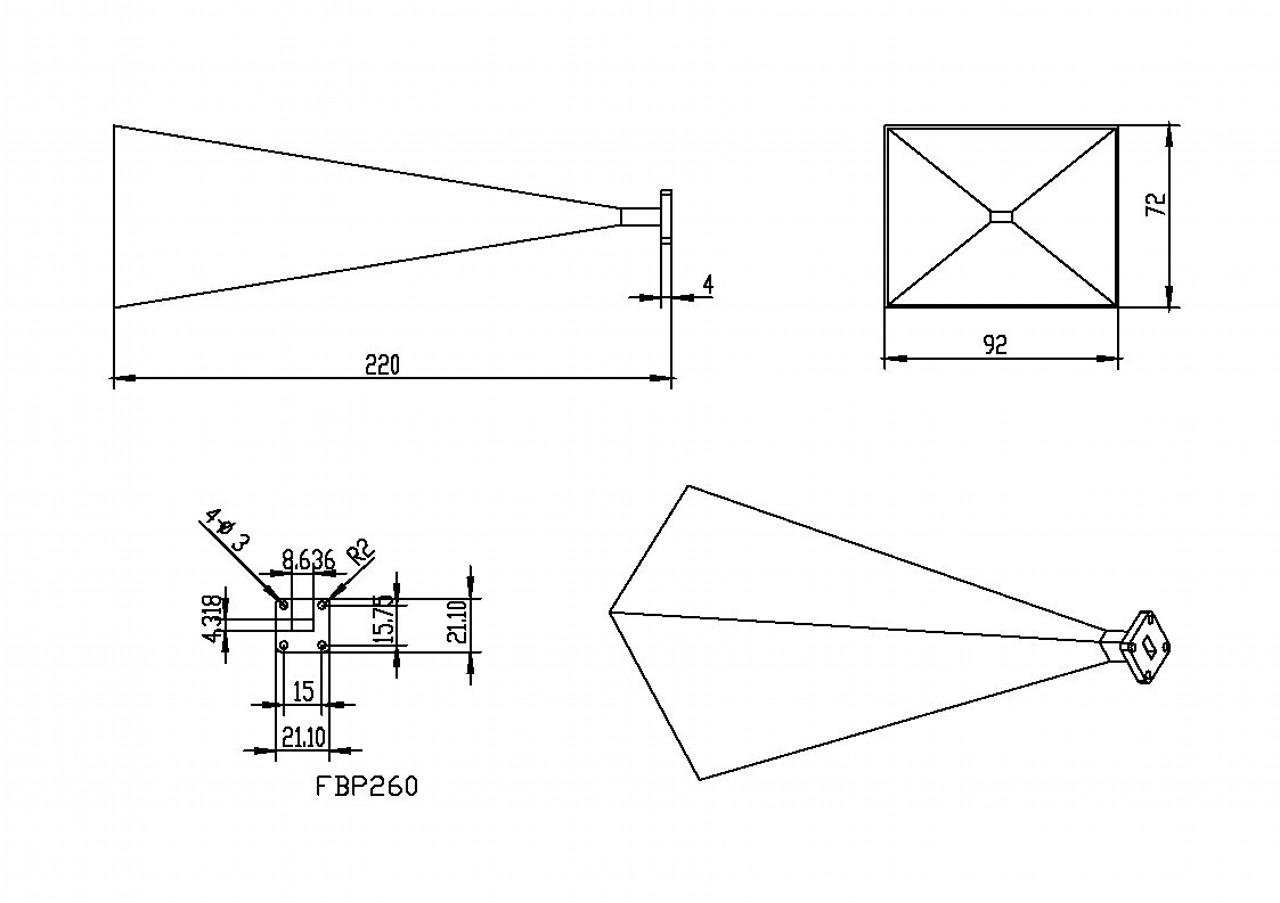 WR-34 Waveguide - 25dBi gain - Standard Gain Horn Antenna