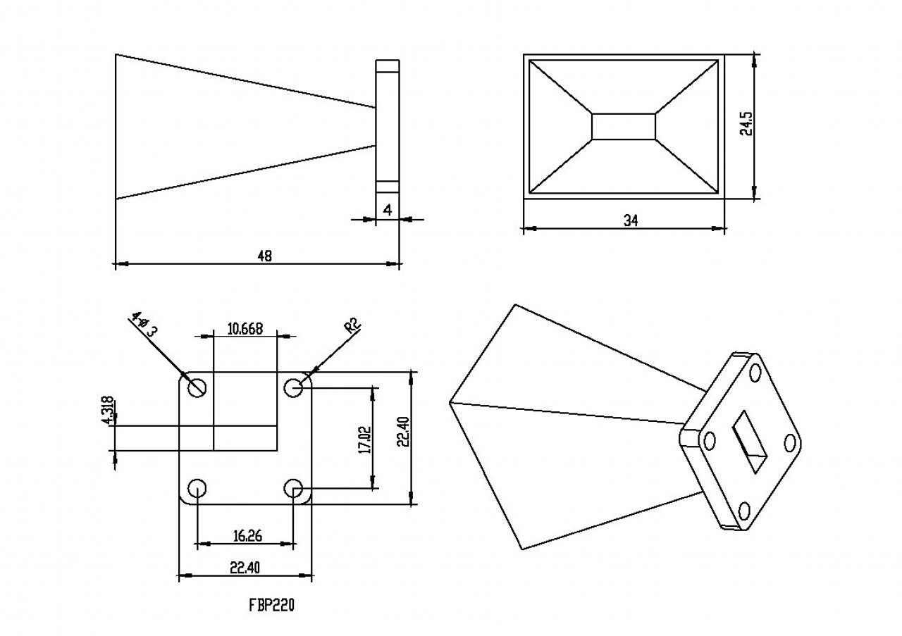 WR-42 Waveguide - 15dBi gain - Standard Gain Horn Antenna