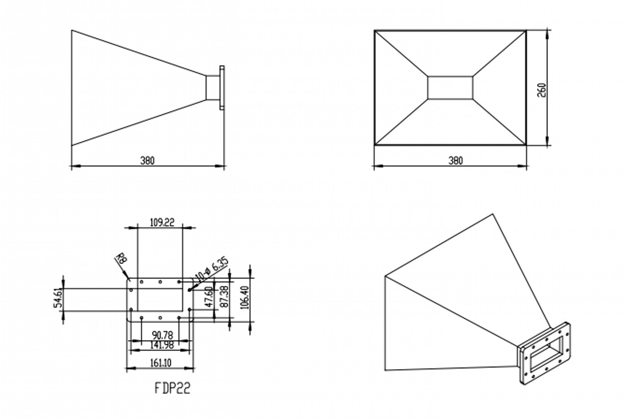 WR-430 Waveguide - 15dBi gain - Standard Gain Horn Antenna