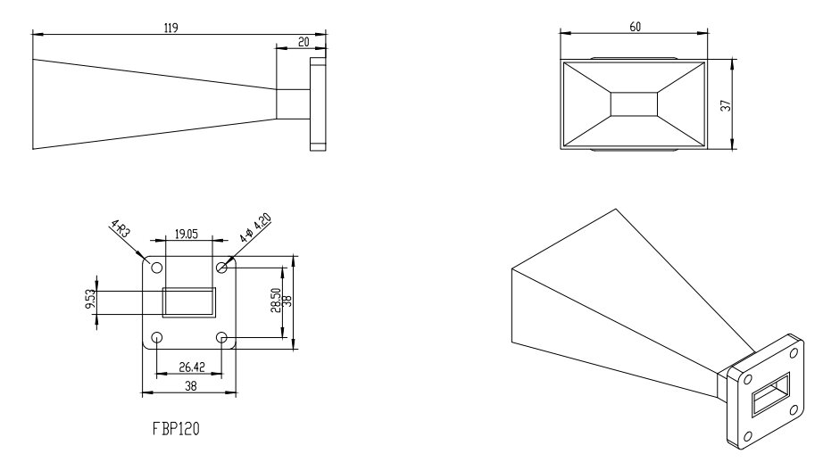 WR-75 Waveguide - 15dBi gain -Standard Gain Horn Antenna