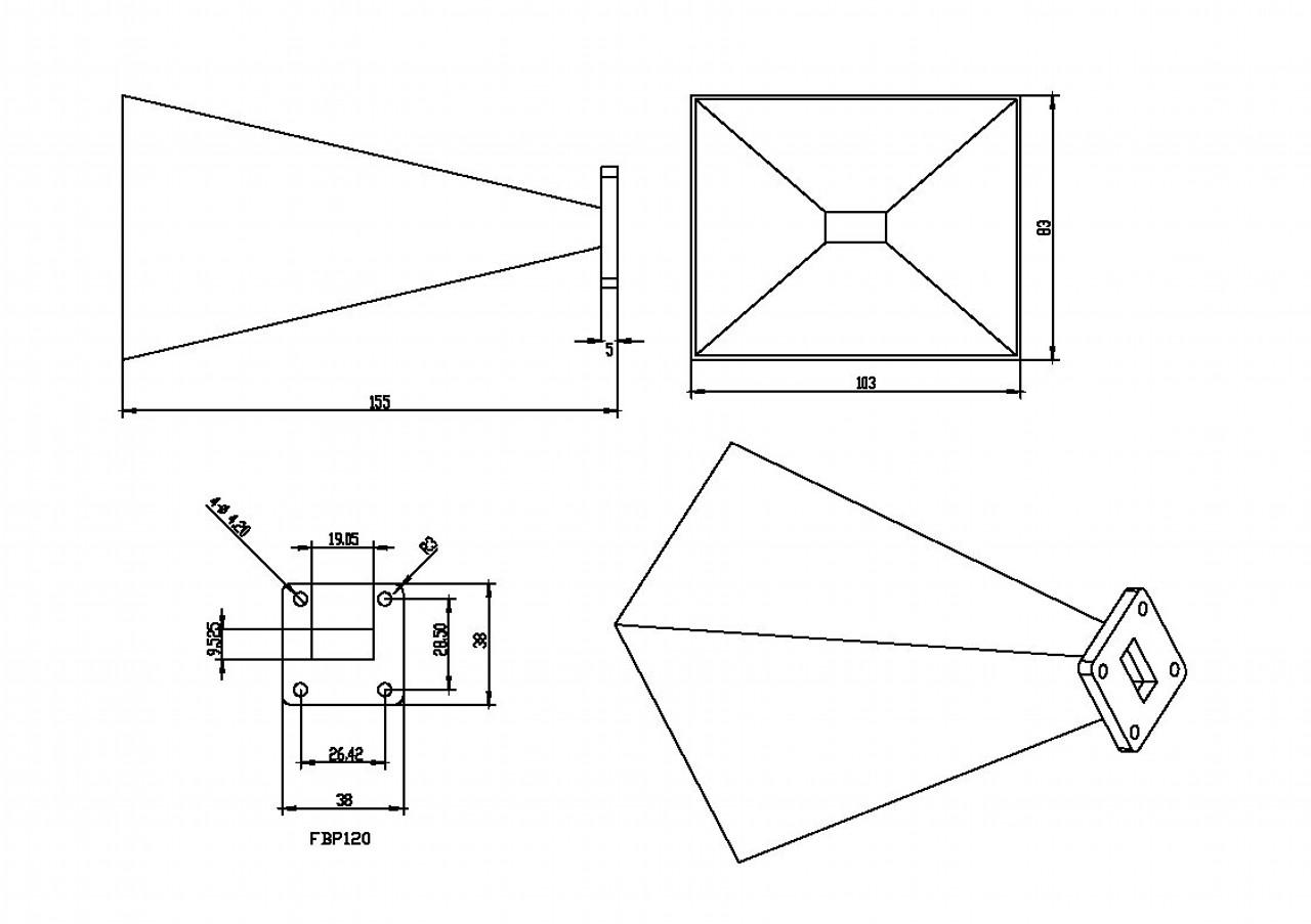 WR-75 Waveguide - Standard Gain Horn Antenna