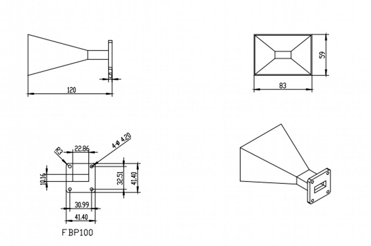 WR-90 Waveguide - 15dBi gain - Standard Gain Horn Antenna