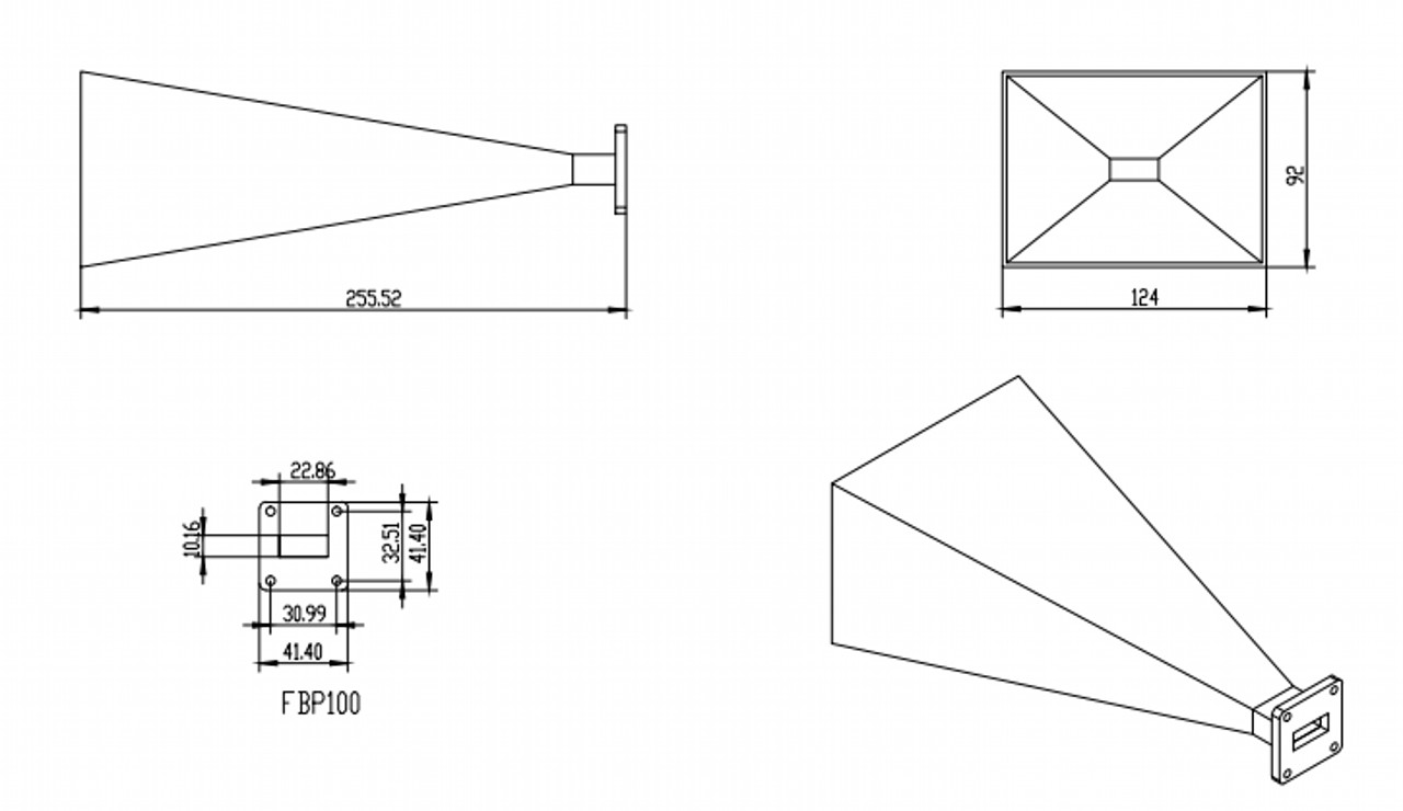 WR-90 Waveguide - Standard Gain Horn Antenna