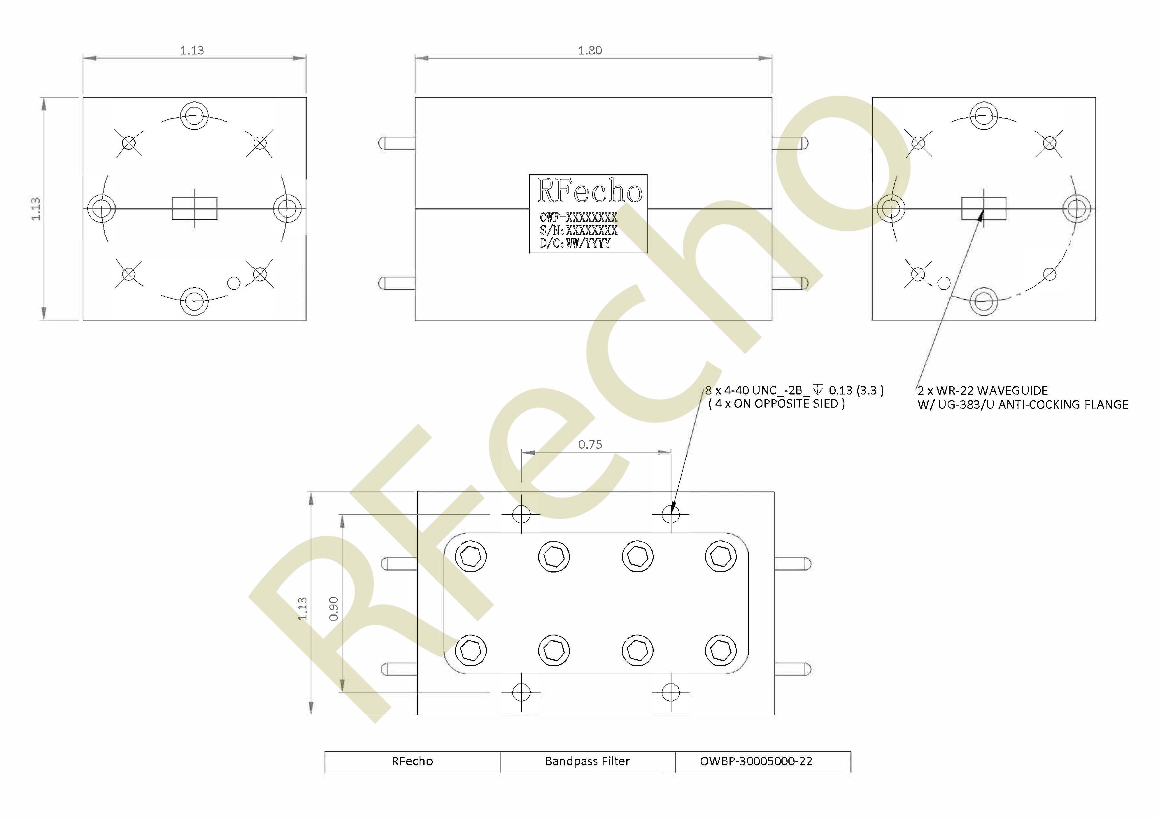 RF Filter Bandpass OWBP-30005000-22