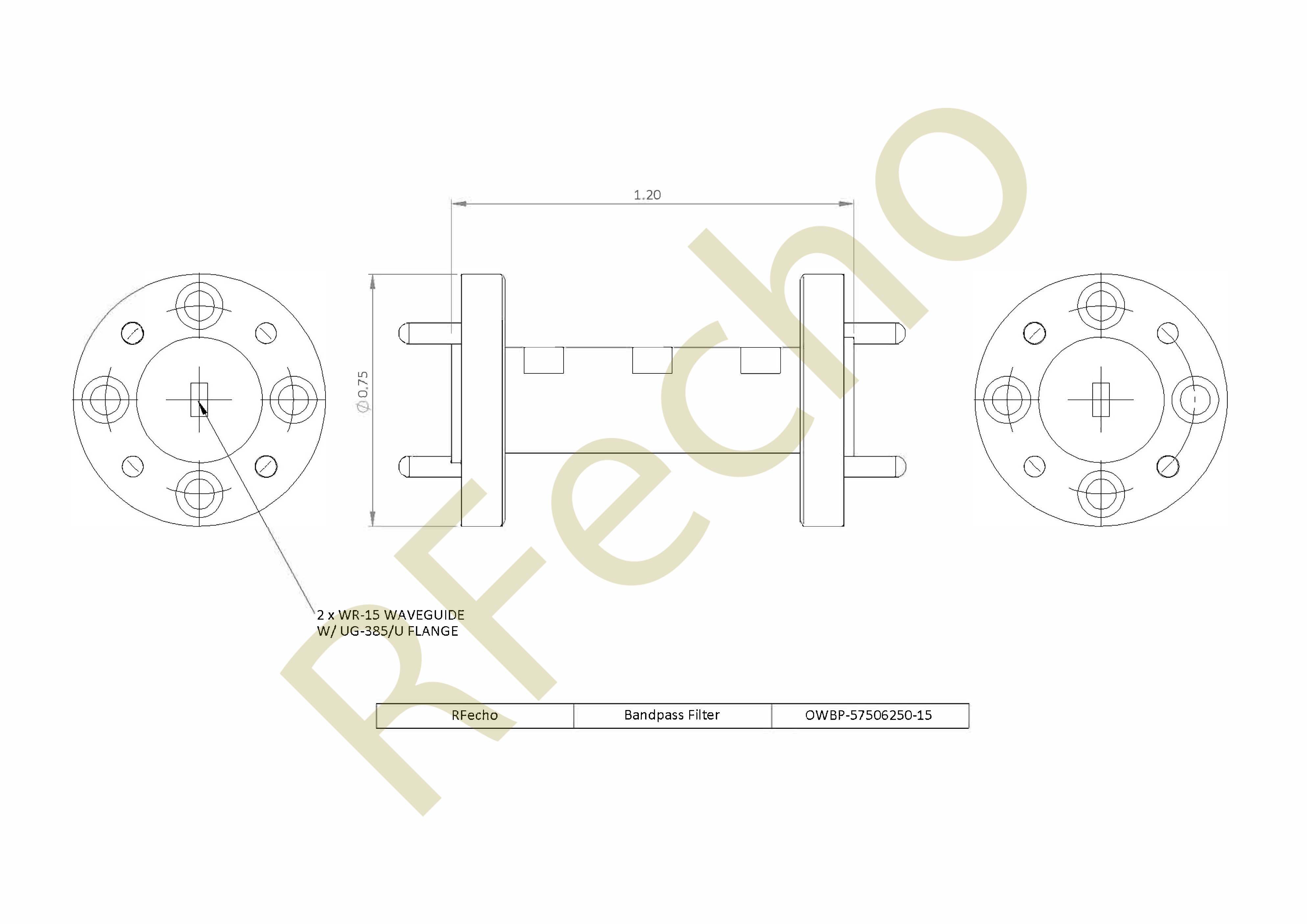 Bandpass Passive Microwave Filter 57.5GHz to 62.5GHz V Band Waveguide Bandpass Filter Rejection Frequency 67GHz to 80GHz
