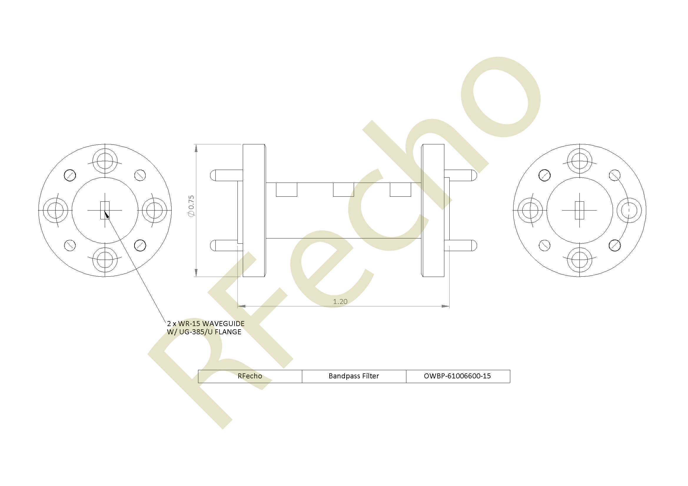 61GHz to 67GHz Waveguide Microwave Bandpass Filter Rejection Frequency 69GHz to 80GHz RF Filter