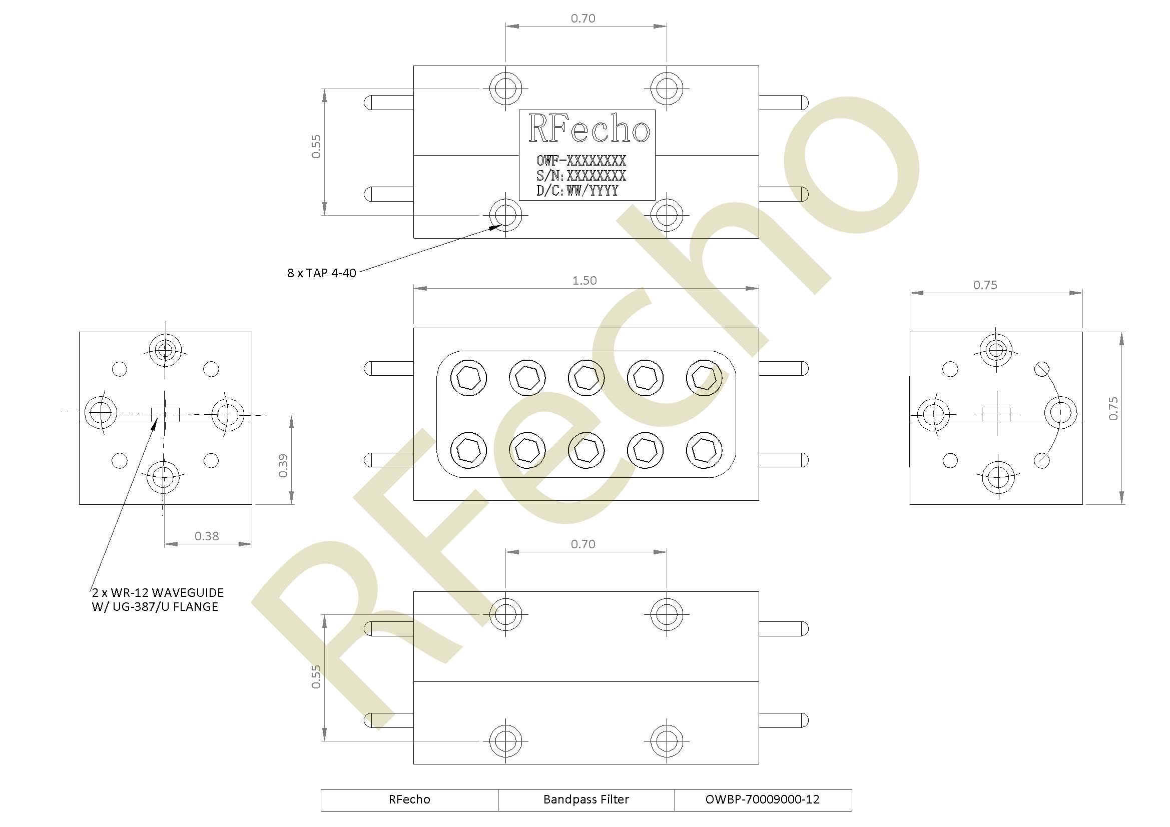 RF Filter Bandpass OWBP-70009000-12