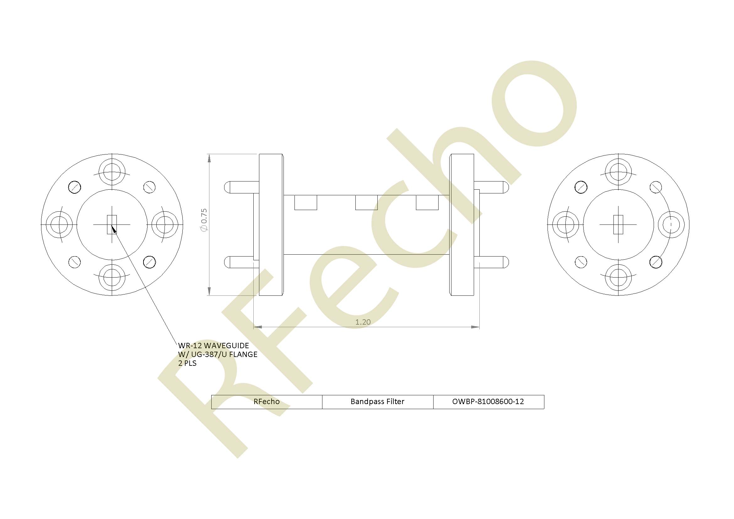 81GHz to 86GHz Waveguide Bandpass Filter Rejection Frequency 90GHz to 120GHz Passive Bandpass Filter