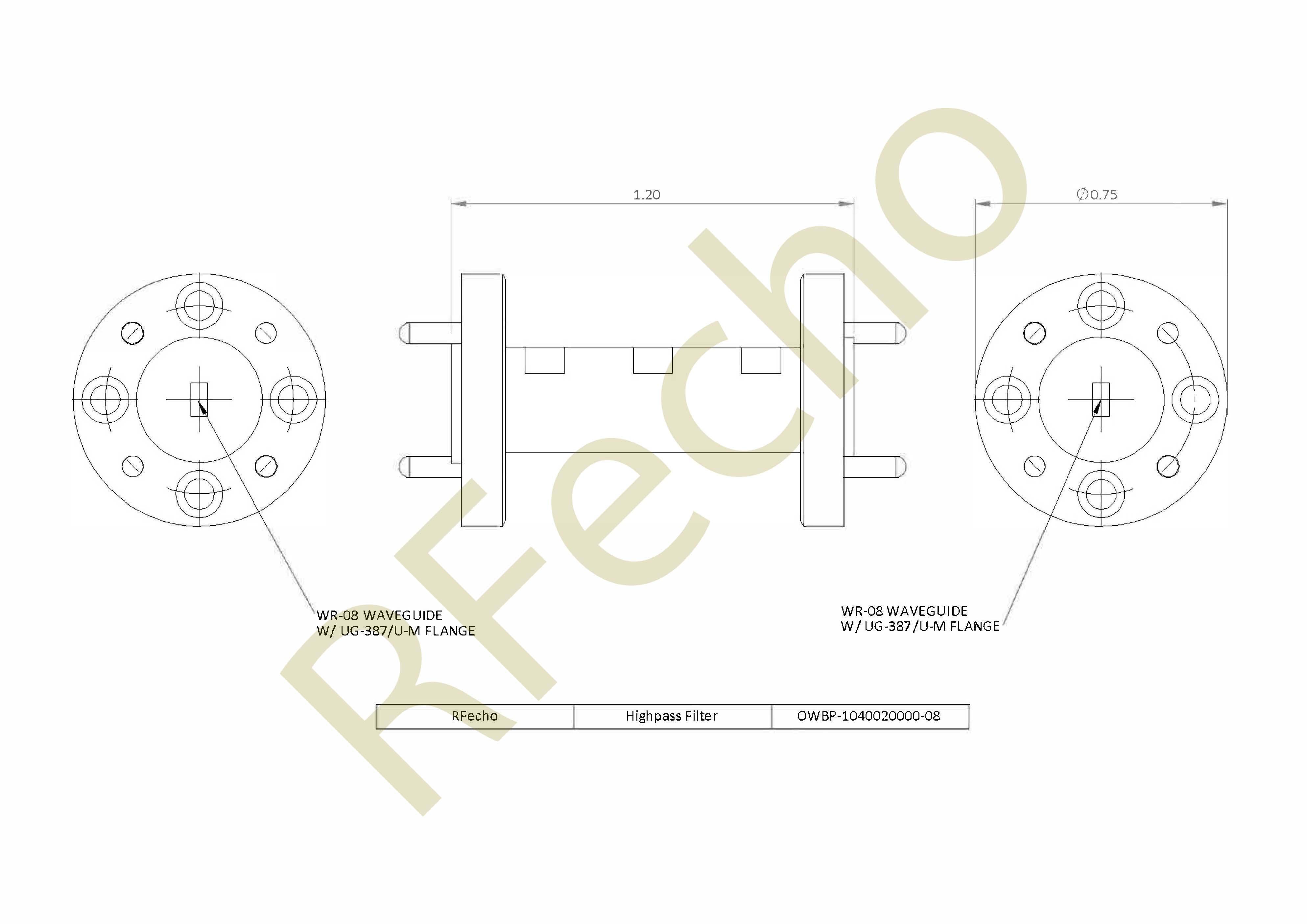RF High Pass Filter 104GHz to 200GHz Waveguide High pass filter rejection 40dB DC-100GHz