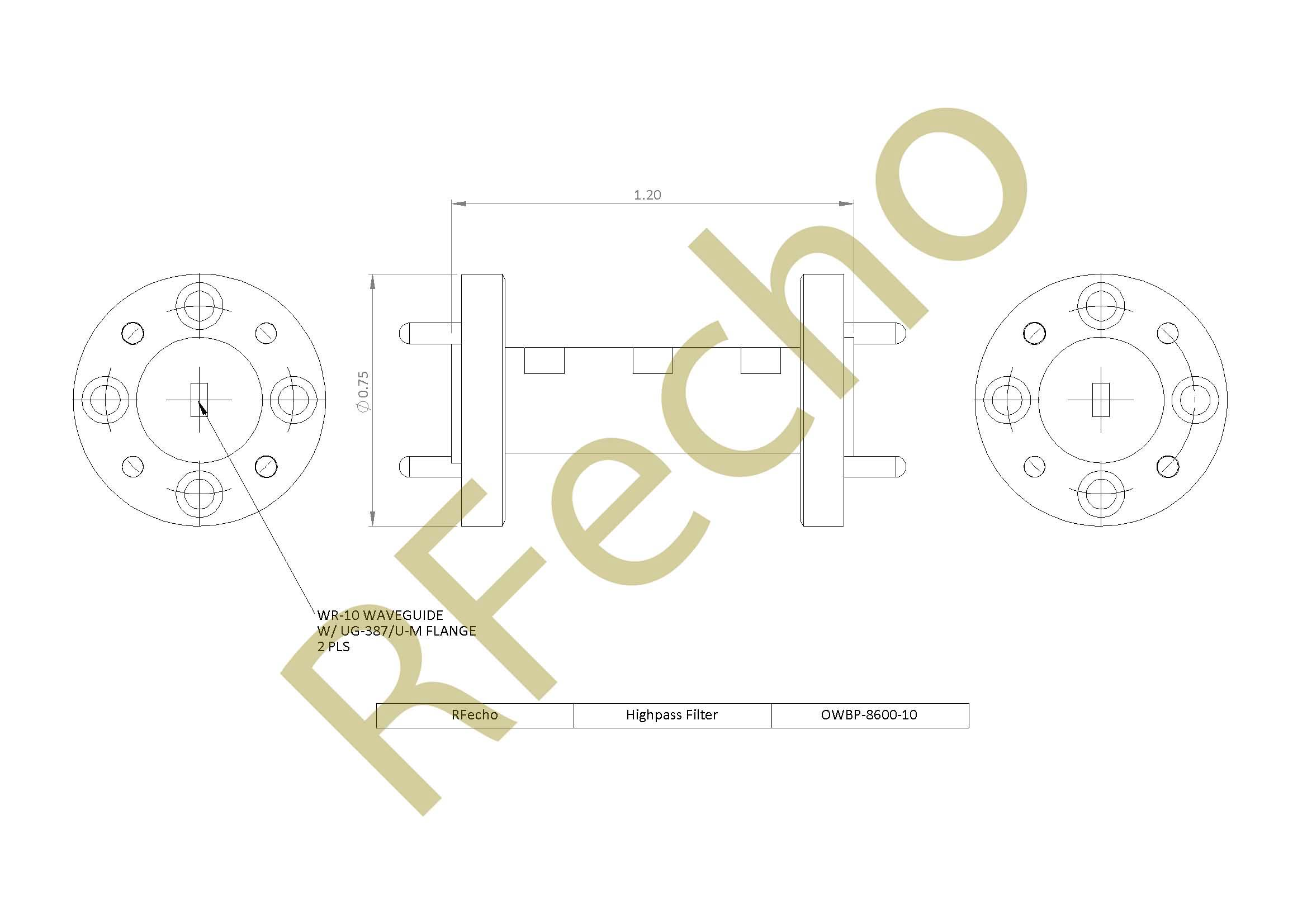 RF Microwave Filter 86GHz High Pass Filter rejection 40dB DC-82GHz