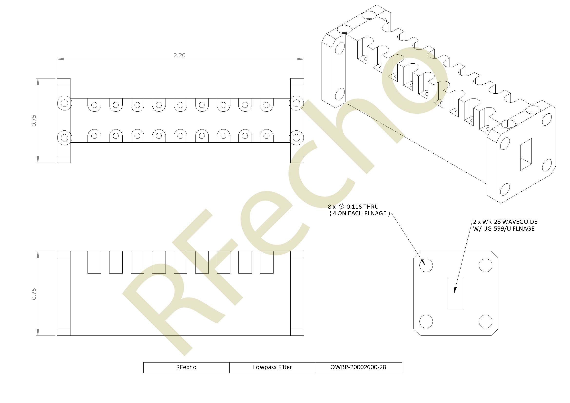 RF Filter Lowpass OWBP-20002600-28