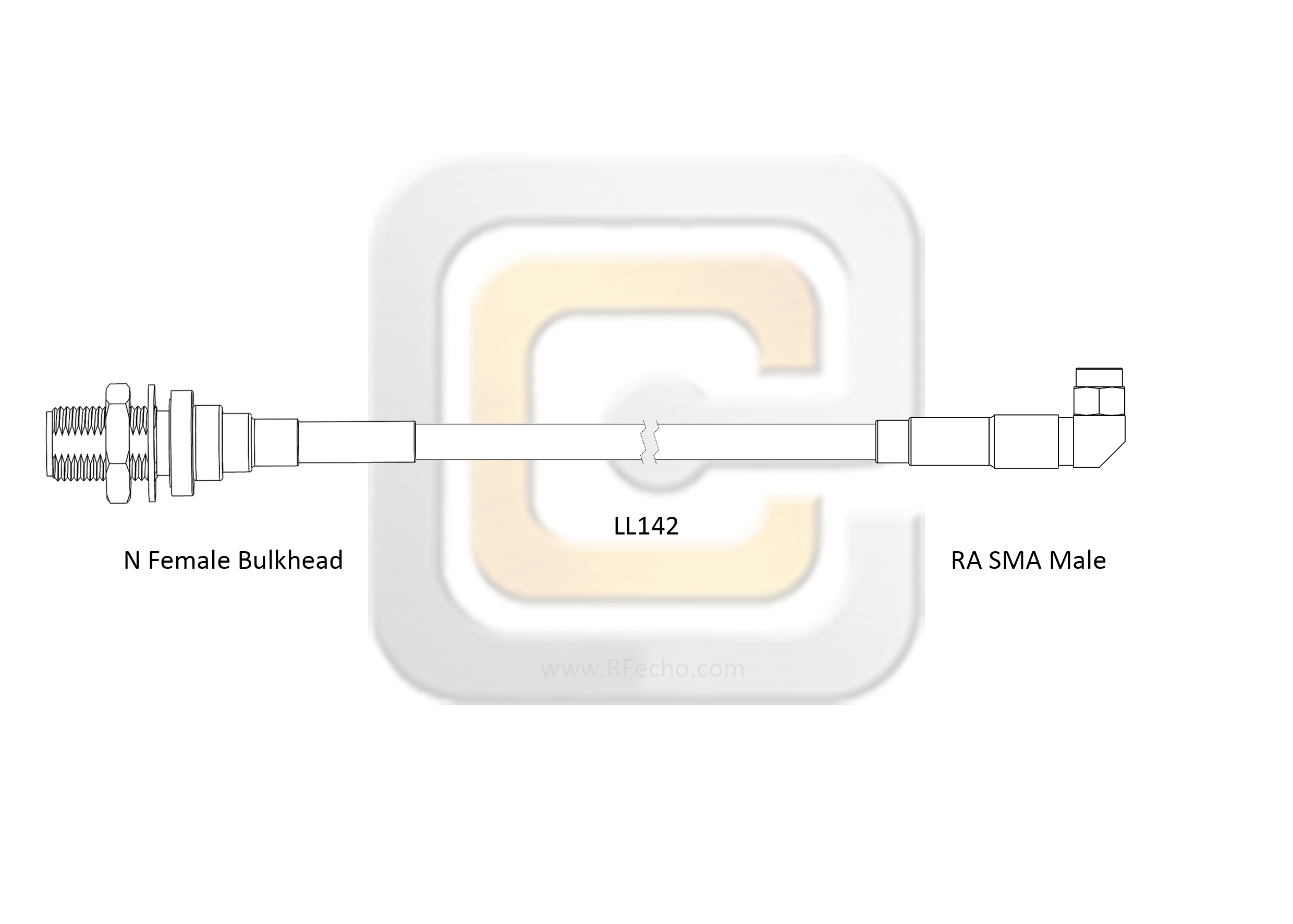 F038 321R0 290S1 180 N outline Low Loss Right Angle SMA Male to N Female Bulkhead, 18 GHz,  LL142 Coax and RoHS