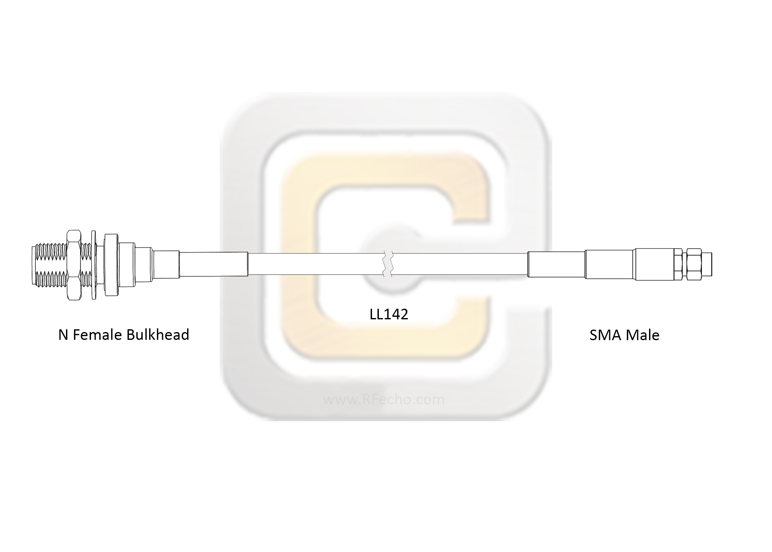 Low Loss SMA Male to N Female Bulkhead, 18 GHz, composite LL142 Coax and RoHS
