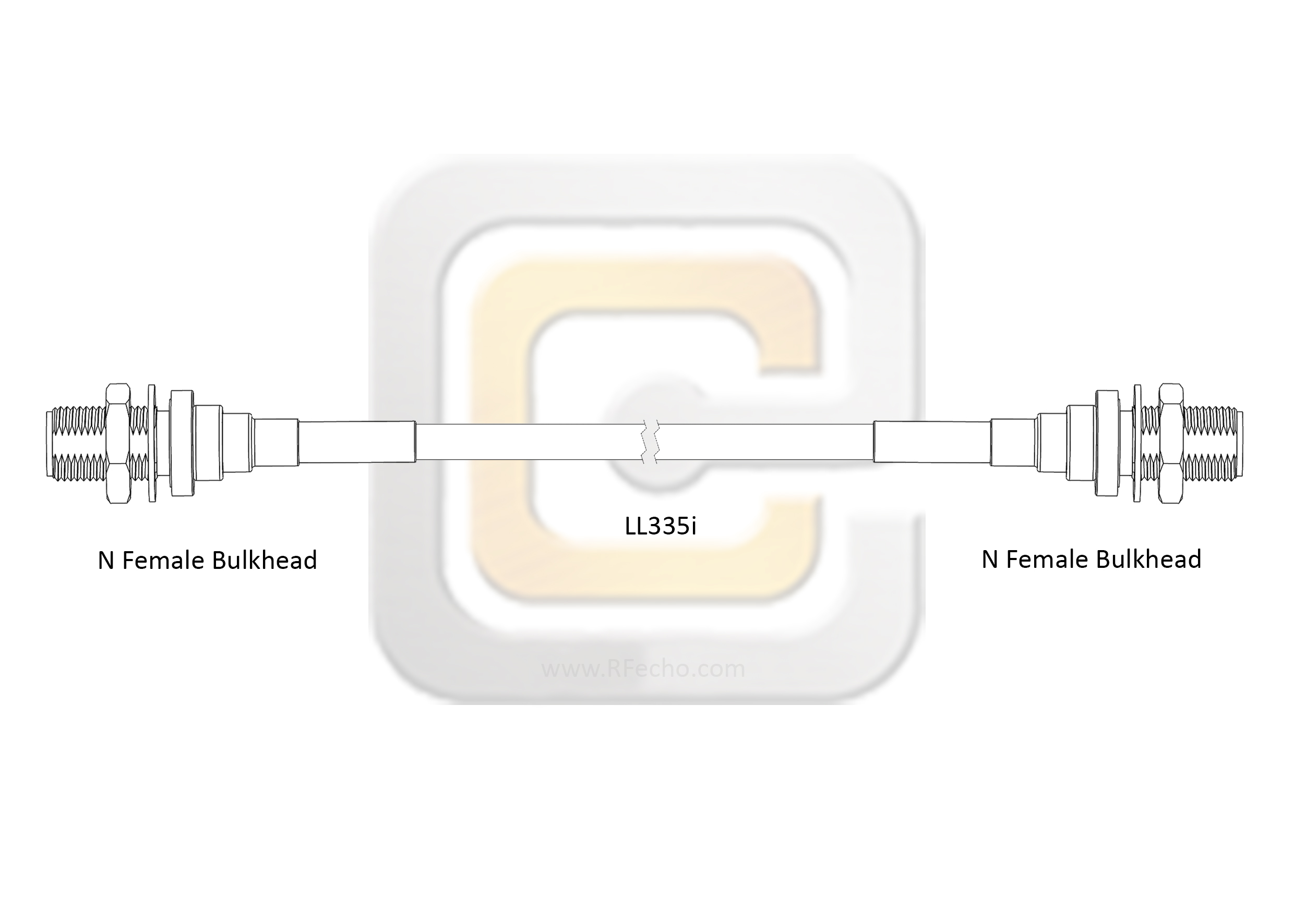 F040 290S1 290S1 180 C outline Low Loss N Female Bulkhead to N Female Bulkhead, 18 GHz, Composite LL335i Coax and RoHS