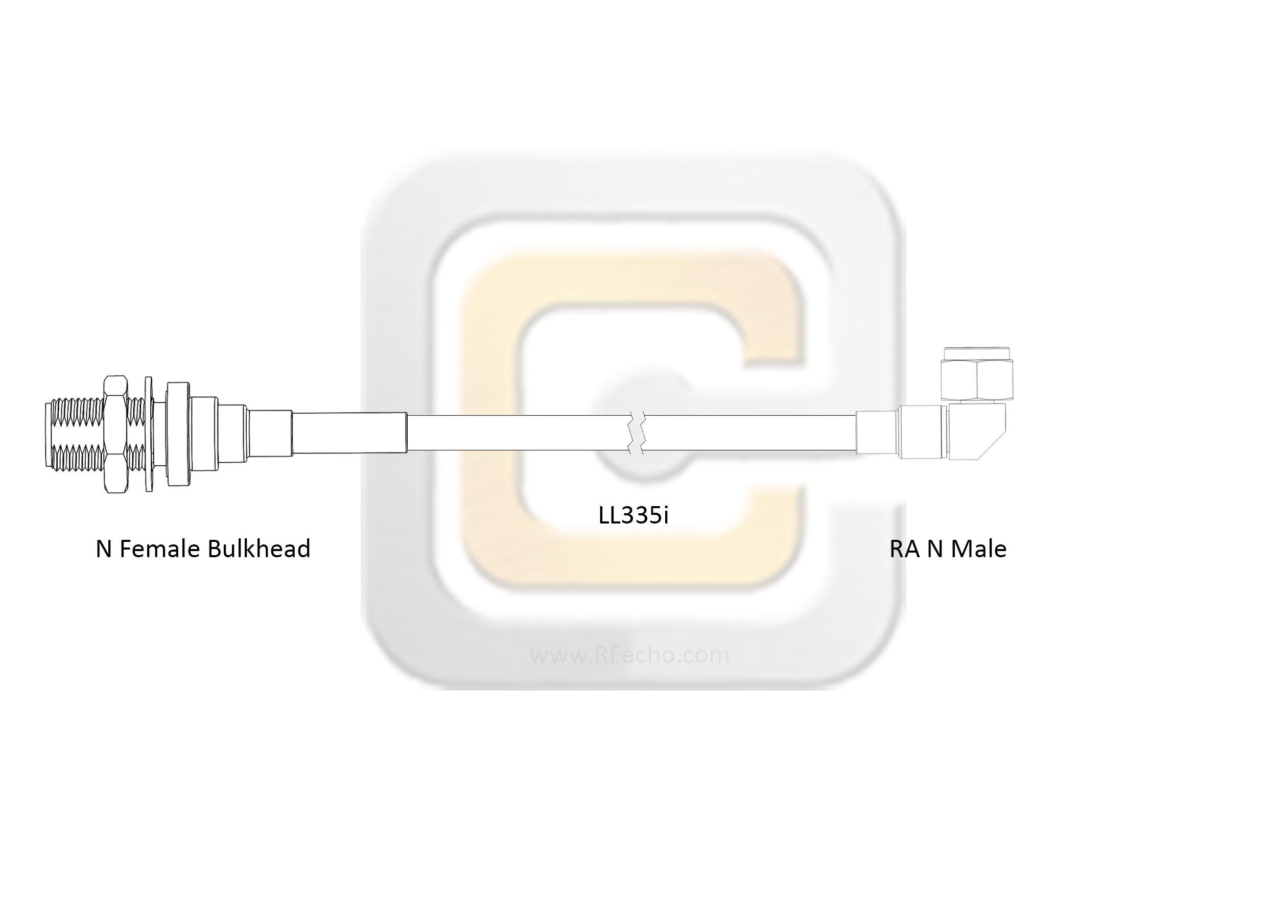 Low Loss N Female Bulkhead to Right Angle N Male, 18 GHz,  LL335i Coax and RoHS