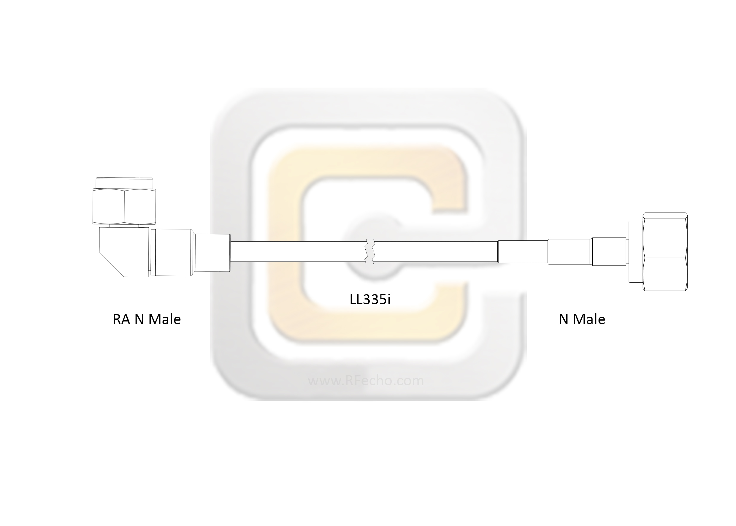 F040 291S0 291R0 180 N outline Low Loss N Male to Right Angle N Male, 18 GHz,  LL335i Coax and RoHS