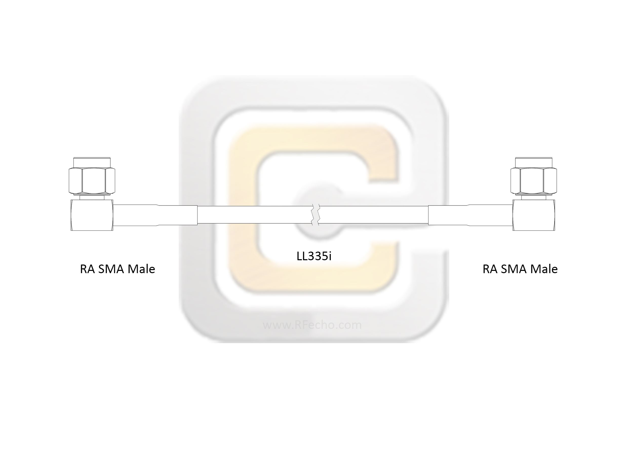 F040 321R0 321R0 180 C outline Low Loss Right Angle SMA Male to Right Angle SMA Male, 18 GHz, Composite LL335i Coax and RoHS