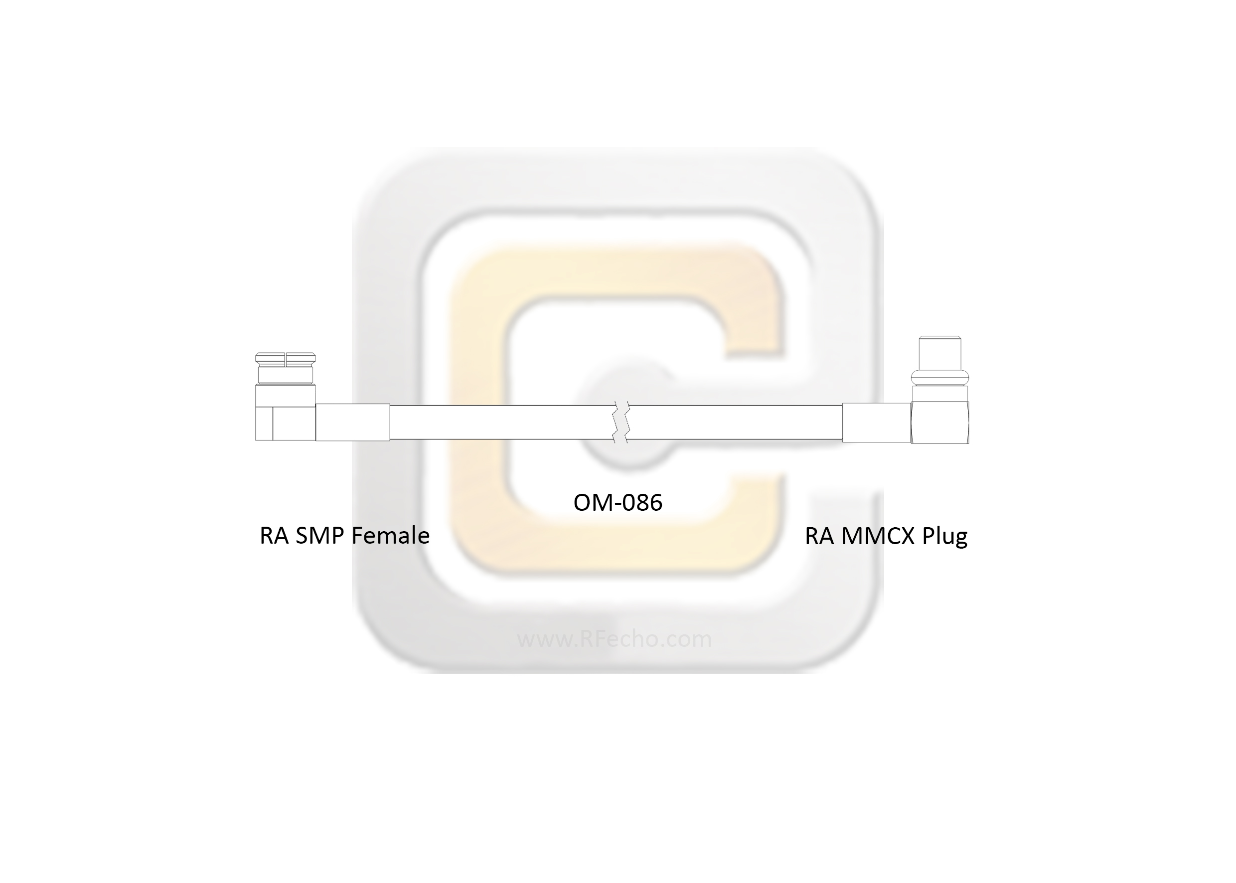 Right Angle MMCX Plug to Right Angle SMP Female, 6 GHz, CompositeOM-086 Coax and RoHS