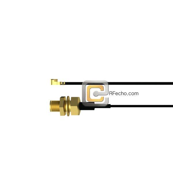 Reverse Polarity SMA Female Bulkhead to UMCX 2.5 Plug OM-137 Coax and RoHS F008-480S1-451S0-60-N