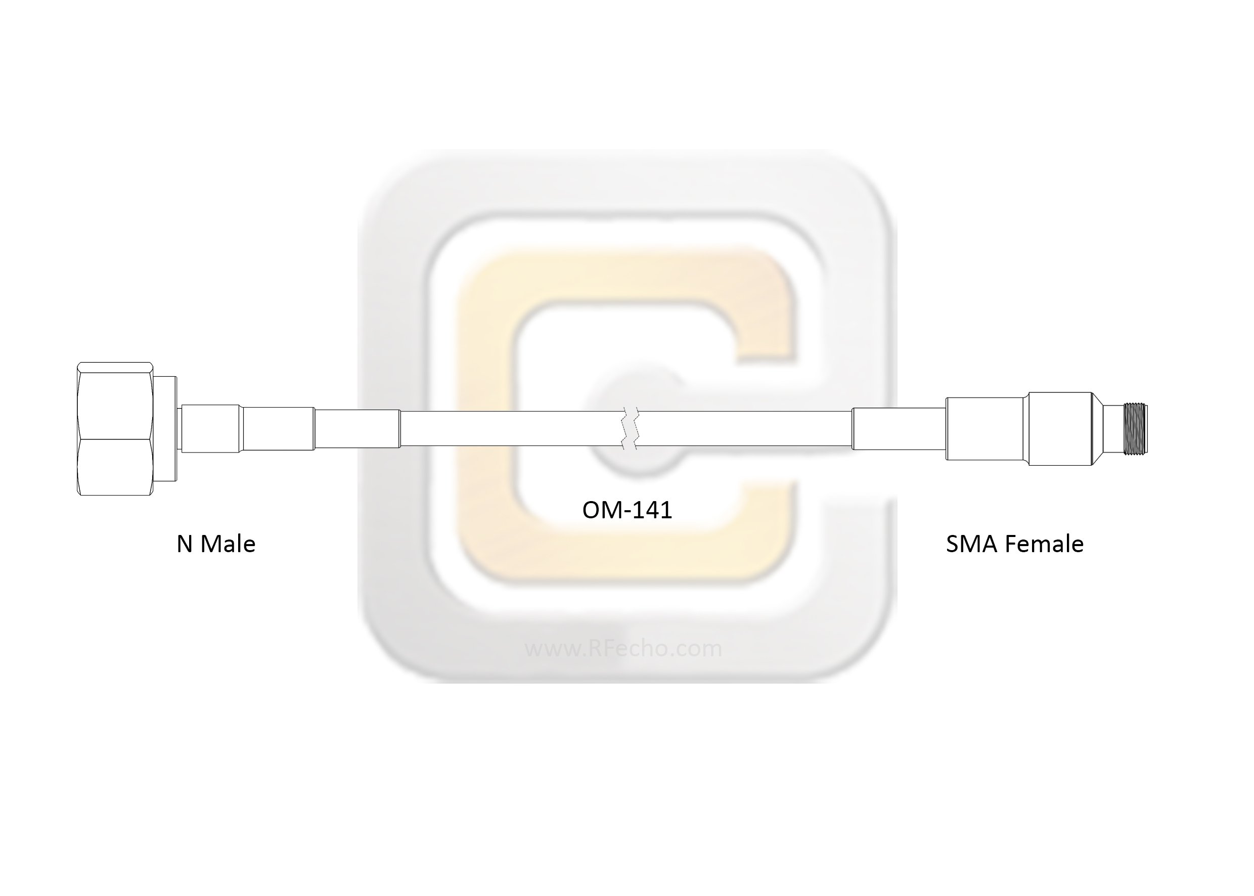 N Male to SMA Female, 18 GHz,  OM-141 Coax and RoHS