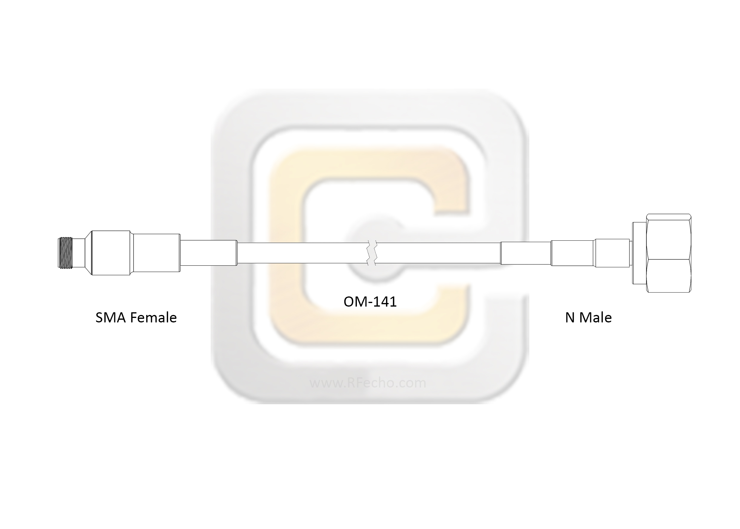 SMA Female to N Male, 18 GHz, Composite OM-141 Coax and RoHS