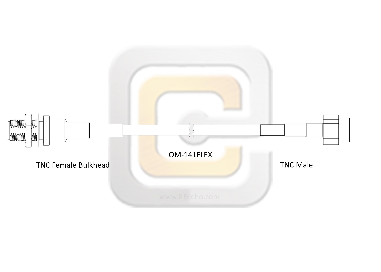 Low Loss TNC Female Bulkhead to TNC Male, 11 GHz,  OM-141FLEX Coax and RoHS