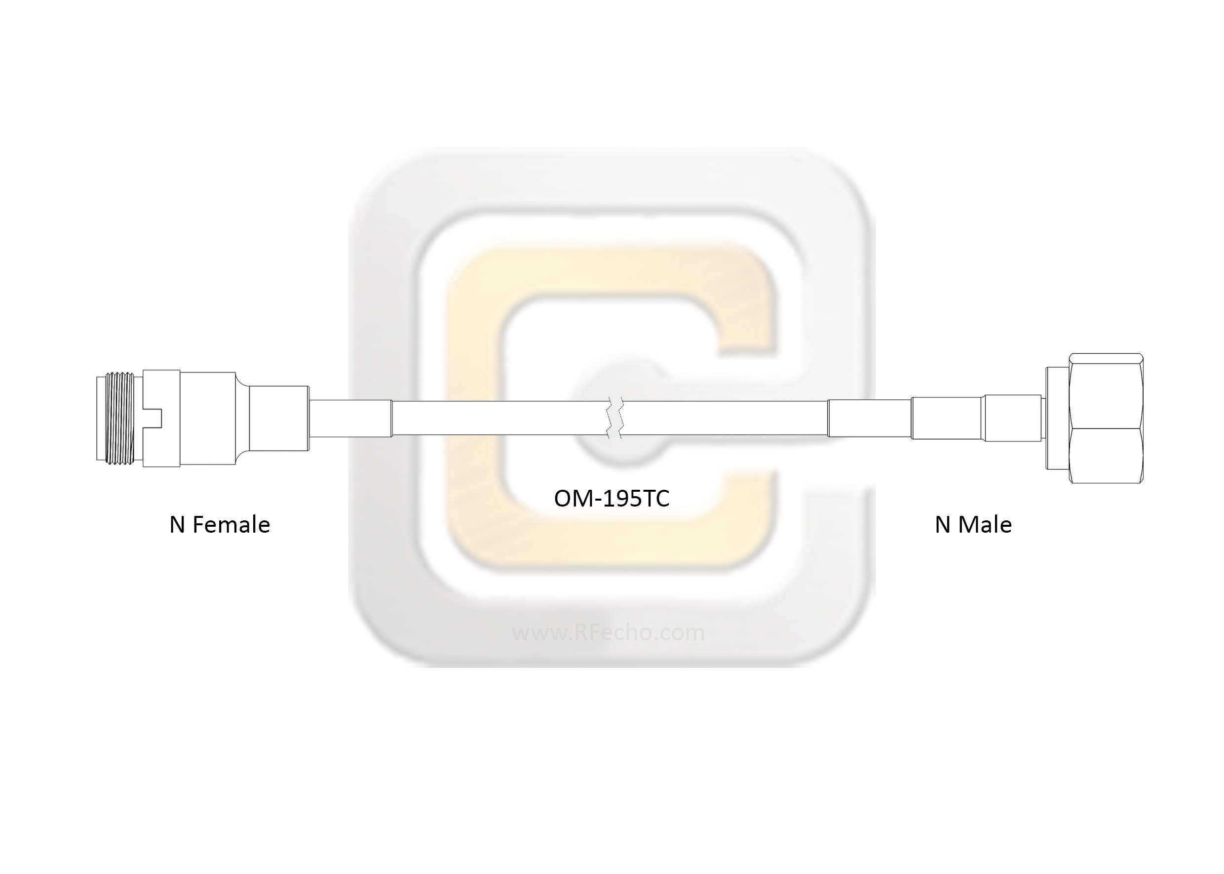 N Female to N Male, 18 GHz, Composite OM-195TC Coax and RoHS