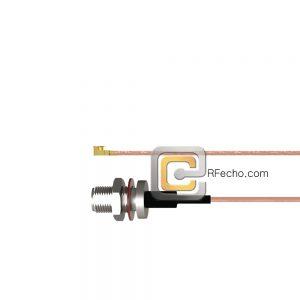 N Female Bulkhead to UMCX 2.5 Plug RG178 Coax and RoHS F074-290S1-451S0-30-N