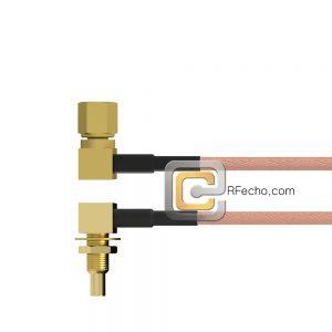 Right Angle SSMC Jack Bulkhead to Right Angle SSMC Plug RG178 Coax and RoHS F074-380R1-381R0-30-N