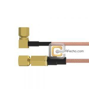 Right Angle SSMC Plug to SSMC Plug RG178 Coax and RoHS F074-381R0-381S0-30-N