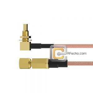 SSMC Plug to Right Angle SSMC Jack Bulkhead RG178 Coax and RoHS F074-381S0-380R1-30-N