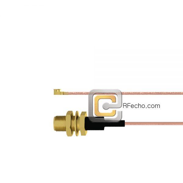 UMCX 2.5 Plug to SMA Female Bulkhead RG178 Coax and RoHS F074-451S0-320S1-30-N